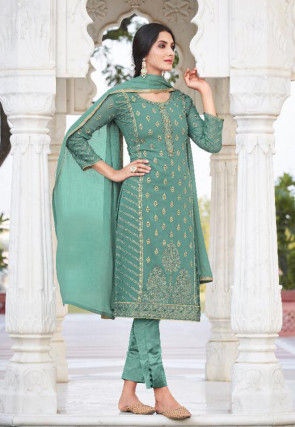 Embroidered Georgette Pakistani Suit in Teal Green