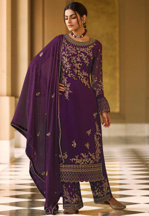 Embroidered Georgette Pakistani Suit in Violet