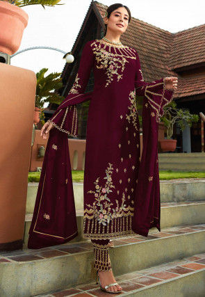 Embroidered Georgette Pakistani Suit in Wine