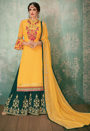 Embroidered Georgette Pakistani Suit in Yellow