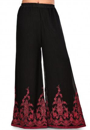 Embroidered Georgette Palazzo in Black