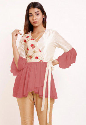 Embroidered Georgette Peplum Style Top in Dusty Pink and Off White