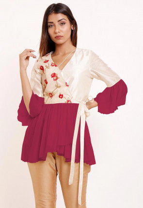 Embroidered Georgette Peplum Style Top in Magenta and Off White