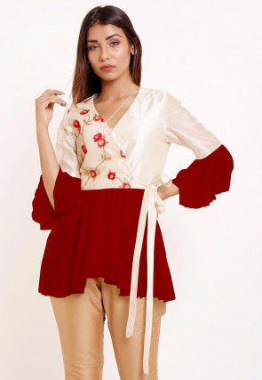 Embroidered Georgette Peplum Style Top in Red and Off White