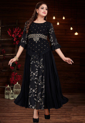 Embroidered Georgette Pleated Long Kurta in Black