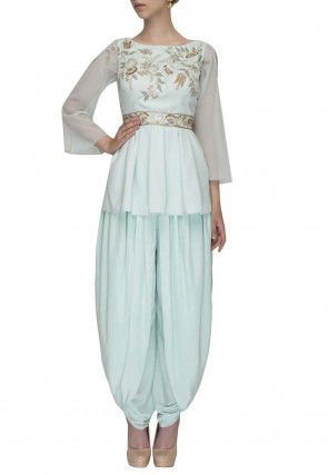 Embroidered Georgette Pleated Top Set in Light Blue