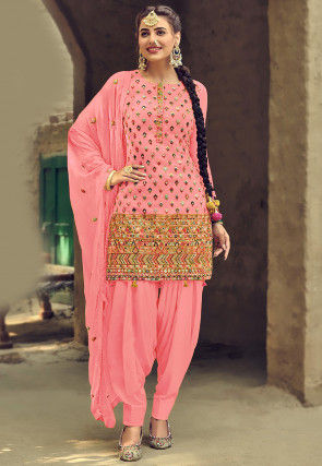 Embroidered Georgette Punjabi Suit in Baby Pink