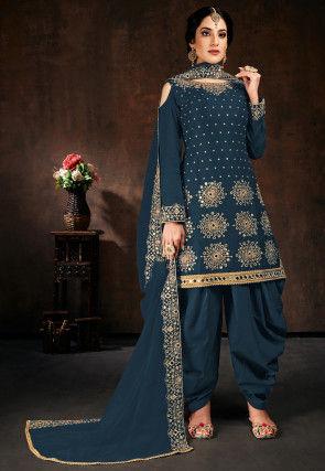 Embroidered Georgette Punjabi Suit in Dark Teal Blue