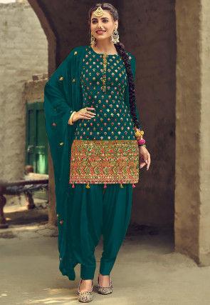 Embroidered Georgette Punjabi Suit in Dark Teal Green