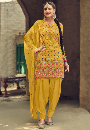 Embroidered Georgette Punjabi Suit in Mustard