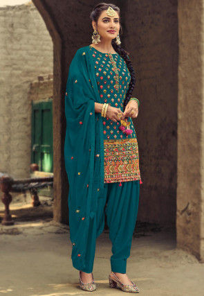 Embroidered Georgette Punjabi Suit in Teal Blue