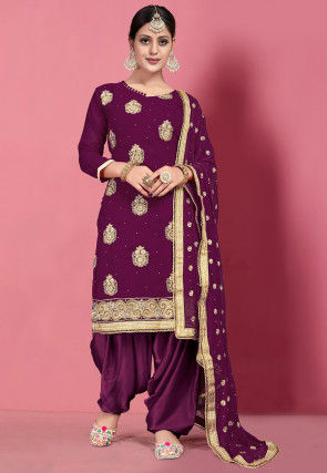 Embroidered Georgette Punjabi Suit in Wine