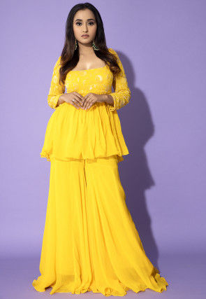 Embroidered Georgette Punjabi Suit in Yellow