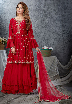 Embroidered Georgette Ruffled Lehenga in Red