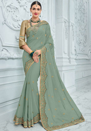 Embroidered Georgette Saree in Dusty Green