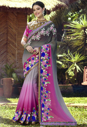 Embroidered Georgette Saree in Grey and Pink