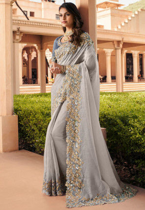 Embroidered Georgette Saree in Grey