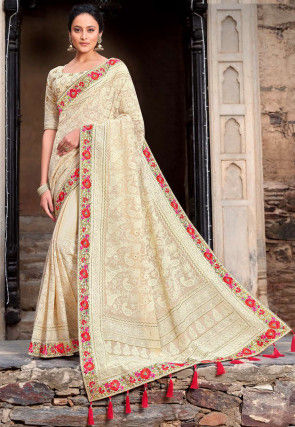 Embroidered Georgette Saree in Light Beige