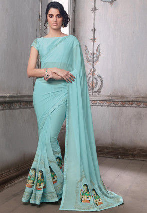 Embroidered Georgette Saree in Light Blue