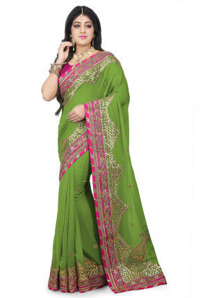 Embroidered Georgette Saree in Light Green