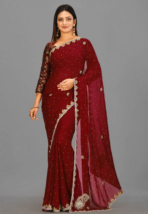 Embroidered Georgette Saree in Maroon