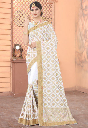 Embroidered Georgette Saree in Off White