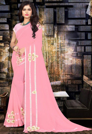 Embroidered Georgette Saree in Pink