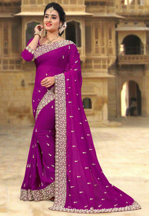 Embroidered Georgette Saree in Purple
