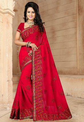 Embroidered Georgette Saree in Red