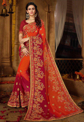 Embroidered Georgette Saree in Shaded Orange and Magenta