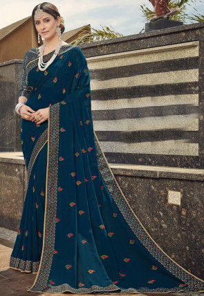 Embroidered Georgette Saree in Teal Blue