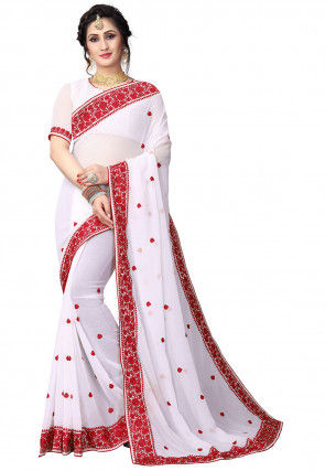 Embroidered Georgette Saree in White