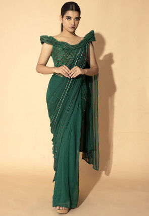 Embroidered Georgette Saree Style Gown in Dark Green