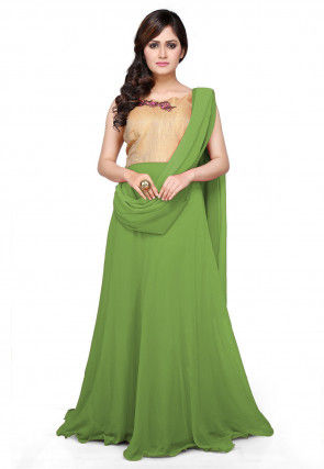 Embroidered Georgette Saree Style Gown in Green and Beige