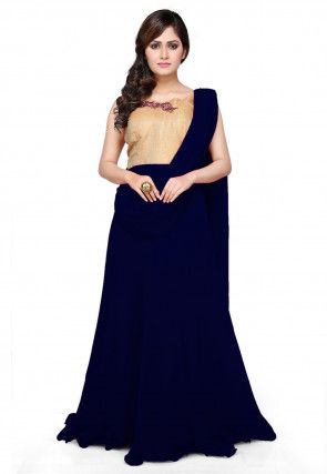 Embroidered Georgette Saree Style Gown in Navy Blue and Beige
