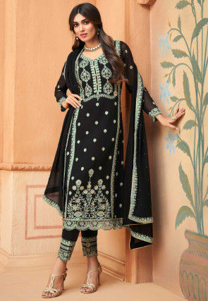 Embroidered Georgette Scalloped Pakistani Suit in Black