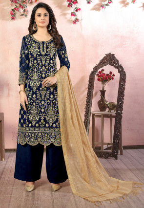 Embroidered Georgette Scalloped Pakistani Suit in Royal Blue