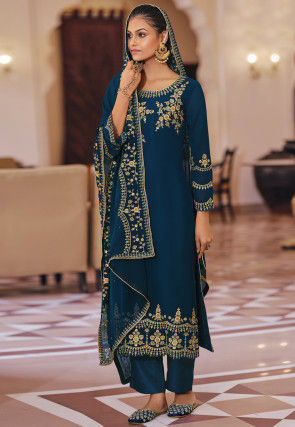 Embroidered Georgette Scalloped Pakistani Suit in Teal Blue