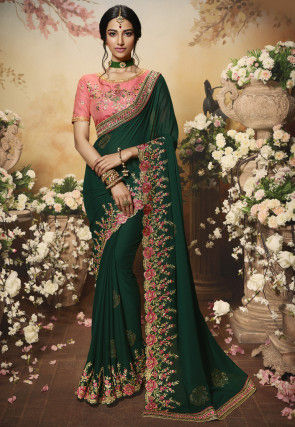 Embroidered Georgette Scalloped Saree in Dark Green
