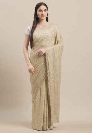 Embroidered Georgette Scalloped Saree in Dusty Green
