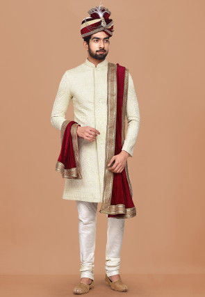 Embroidered Georgette Sherwani in Off White