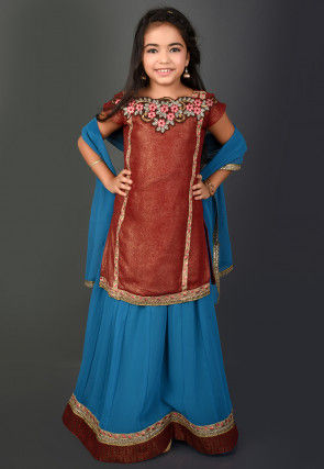 Embroidered Georgette Shimmer Lehenga in Maroon and Teal Blue