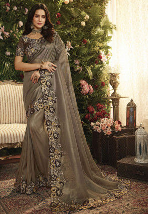 Embroidered Organza Shimmer Saree in Fawn