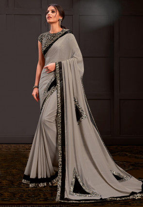 Embroidered Georgette Shimmer Saree in Grey