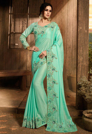 Embroidered Georgette Shimmer Saree in Light Turquoise