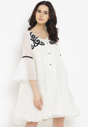Embroidered Georgette Short Dress in Off White