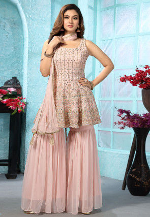 Embroidered Georgette Short Pakistani Suit in Peach
