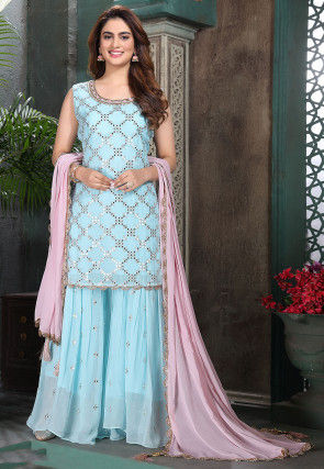 Embroidered Georgette Short Pakistani Suit in Sky Blue