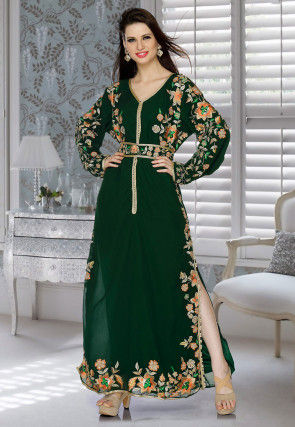 Embroidered Georgette Side Slit Abaya in Dark Green