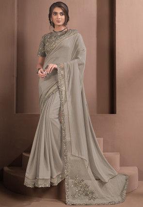Embroidered Georgette Silk Saree in Grey